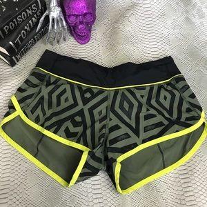 Lululemon green chevron speed shorts
